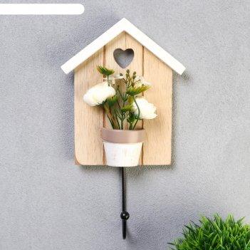 Крючок декоративный дерево розы в вазоне микс 24,5х13,3 см