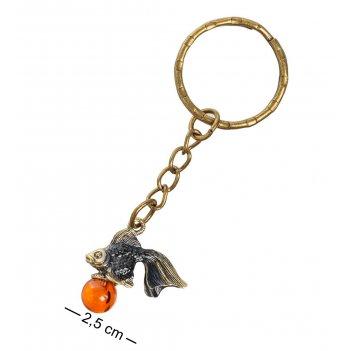 Am-1370 брелок золотая рыбка (латунь, янтарь)
