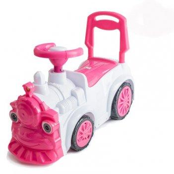 Ор761 каталка-машинка паровозик orion, бело-розовый