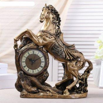 Часы настольные конь, цвет золото, 55х48х22 см, микс
