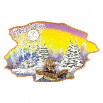 Часы с картиной медведь зима 50х32 см