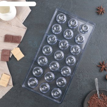 Форма для шоколада 21 ячейка пончик 33x16,2x2,6 см