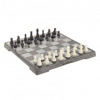 Игра настольная магнитная шахматы, фигуры чёрно-белые, 19.5х19.5 см