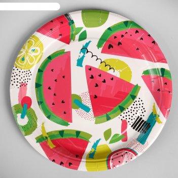 Тарелка бумажная фрукты набор 10 шт