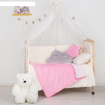 Плед-одеялко с бомбошками крошка я розовый, р-р 110 х 90 см, 100% п/э, вел