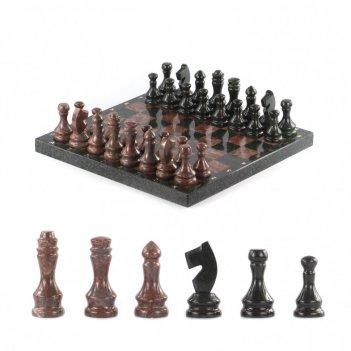 Шахматы каменные из лемезита и змеевика 38х38 см