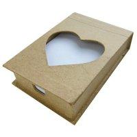 Коробочка с бумагой для заметок папье-маше сердце 10x7x2,4см