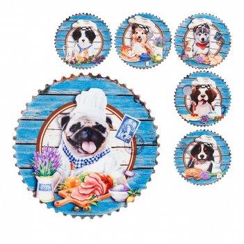 Фигурка декоративная (магнит) собачка-кок d=7см. b=0.5см. (6видов) (min12)