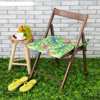 Подушка на стул уличная «этель» попугай, 45x45 см, репс с пропиткой вмго,