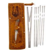 Набор для шашлыка кабан (6 шампуров,мангал, нож) 58х20х3,5 см