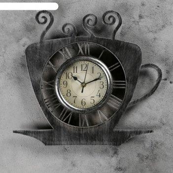 Часы настенные чашка кофейная с блюдцем хром с напылением 31*33см