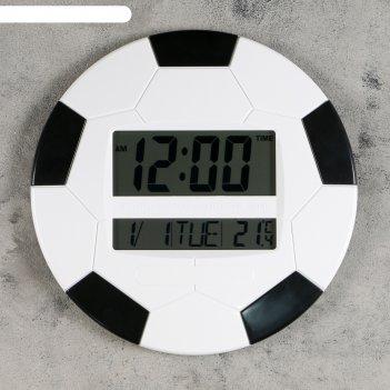 Часы настенные электронные футбольный мяч с календарём и термометром, 26х2