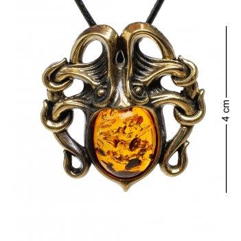 Am-1697 подвеска осьминог (латунь, янтарь)