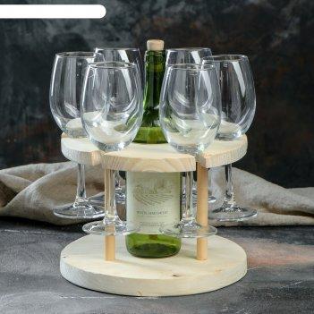 Подставка для вина, 6 бокалов, массив ясеня (1сорт)