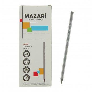 Карандаш чернографитный, mazari, hb, шестигранный, пластиковый, syber