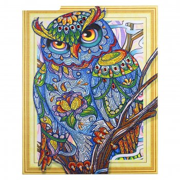 Алмазная картина с фигурными стразами мудрая сова