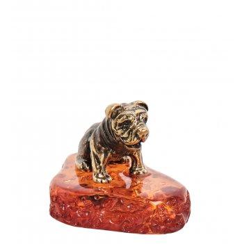 Am-1885 фигурка щенок (латунь, янтарь)