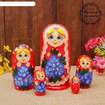 Матрешка «цветы», красная, 5 кукольная, полхово-майданская роспись, 17 см