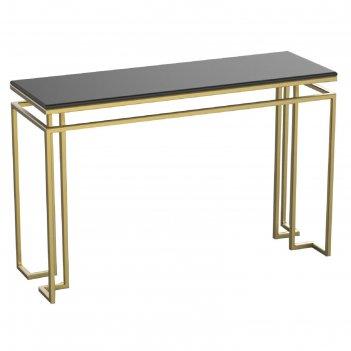 Консоль designo ножки металл золото столешница черная, 120х40х76см