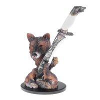Нож сувенирный на подставке волк