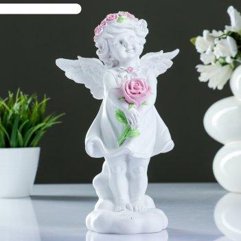 Фигура ангелочек счастья цветной 14х10х25см