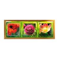 Часы-картина настенные яркие цветы, 35х100 см