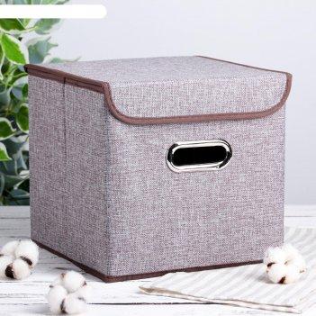 Короб для хранения с крышкой офис, цвет серый