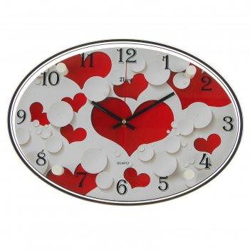 Часы настенные овальные сердечки, 24х34 см