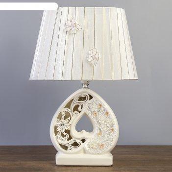 Лампа настольная с абажуром сердце белая с золотом е14 40w 19х27,5х38 см