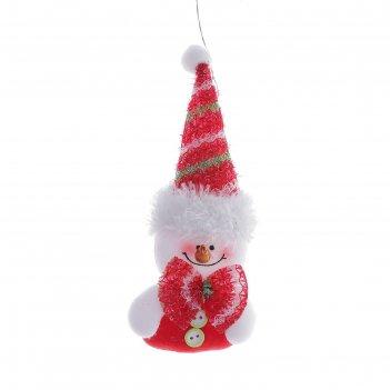 Подвеска снеговик в высоком колпаке