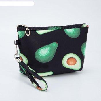 Косметичка-сумочка, отдел на молнии, с ручкой, цвет чёрный, «авокадо»