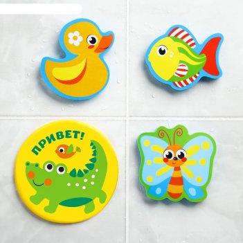 Набор eva игрушек для ванны 3шт + мини-коврик на пруду