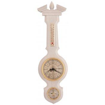 Бытовая метеостанция бм-94 массив дуба (смич) часы, белая