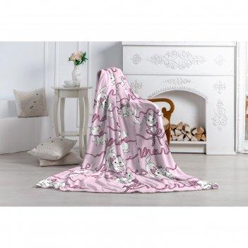 Плед павлинка кошка мари, 150х200, цвет розовый, аэрософт 190гм, пэ100%
