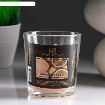 Свеча в гладком стакане ароматизированная сандаловое дерево