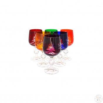 Набор бокалов для вина цветной хрусталь 230мл(6 шт)