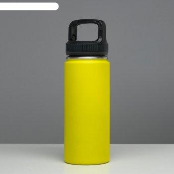 Термос турист 550 мл, сохраняет тепло 24 ч, крышка карабин, жёлтый