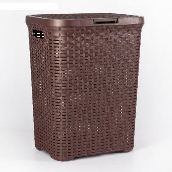 Корзина для белья 40л с крышкой ротанг коричневый (пластик)