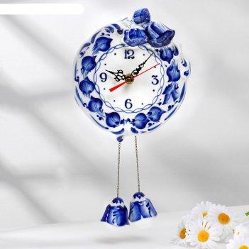 Часы настенные колокольчик, гжель фарфор 2с