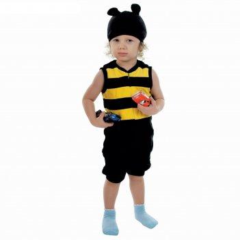 Карнавальный костюм шмель, велюр, комбинезон, шапка, 1,5-3 г., рост 98 см