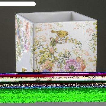 Горшок цветочный кубик, белый, d20см