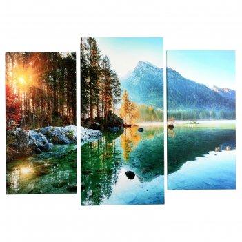Модульная картина горное озеро (2-25х50, 30х60 см)  60х80 см