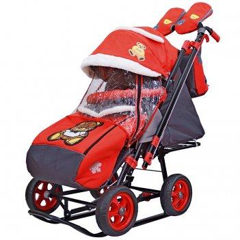 Санки-коляска snow galaxy city-2 мишка с бабочкой на красном на больших ко