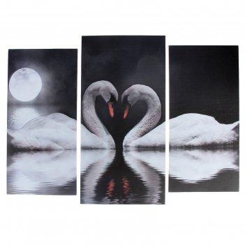 Модульная картина лебеди под луной  (2-25х52; 1-30х60) 60х80 см