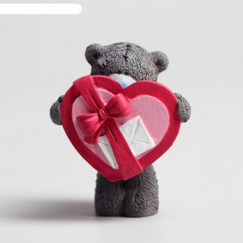 Сувенир полистоун медвежонок me to you с сердцем-коробкой 6,5х7 см