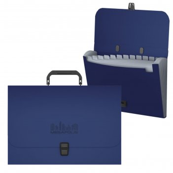 Папка-портфель а4 12 отделов erichkrause megapolis синий 50466