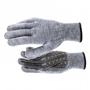 Перчатки трикотажные, акрил, пвх гель, протектор, серое мулине, оверлок ро