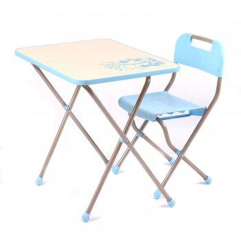 Комплект детской мебели с рисунком в стиле ретро, цвет голубой