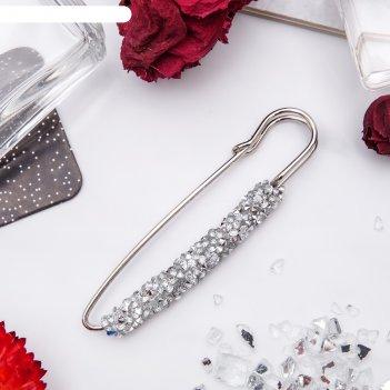 Булавка вечеринка стразы, 7см, цвет серебристый в серебре