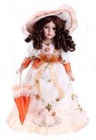 Кукла коллекционная барышня вероника в оранжевом с зонтиком